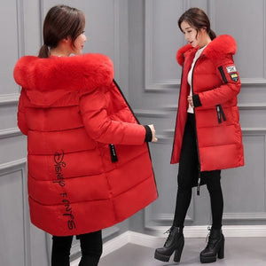 Ladies Casual Long Coats Hooded Fur Collar Outwear