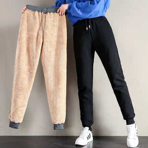 Women Winter Thick Lambskin Pants Warm