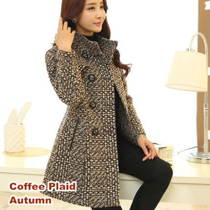Women's Wool Blends Coat Long Outerwear Female