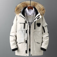 Load image into Gallery viewer, Thicken Men's Down Jacket With Big Real Fur Collar