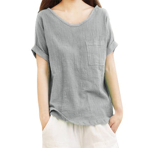 Blouse Women Short Sleeve Pocket  Shirts Top Blouse