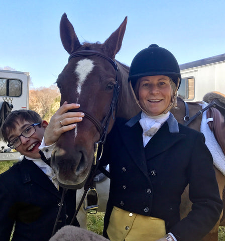 Elizabeth B (EB) Stutts, owner and her son with their horse