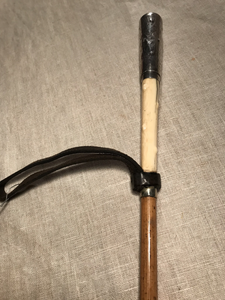 Whip-Crop Or Bat, 1876 Sterling Silver Capped, Bone-Horn & Bamboo (Vintage Conversion Of Antique Driving Whip)