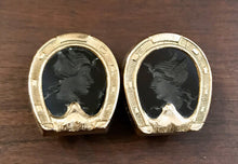 Load image into Gallery viewer, Cufflinks, Gold Clad Horse Shoes With Carved Onyx, 1890-1940 era