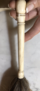 Fly Whisk, 1800's Hand Carved Bone-Horn Handle with Horsehair Tail