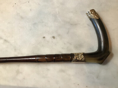 Whip-Crop, Sidesaddle Cane, Park, Antique, 10ct Gold Plated Horn Hook, Engraved, Excellent Condition