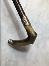 Load image into Gallery viewer, Whip-Crop, Sidesaddle Cane, Park, Antique, 10ct Gold Plated Horn Hook, Engraved, Excellent Condition