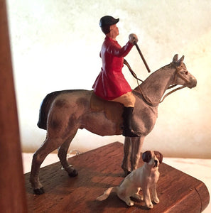 Bookends w detailed, hand painted, vintage Fox Hunt figures on wooden books