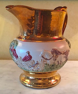 Bar/Tableware, Fine China Hunt Scene Pitcher, Bourne Denby Derby, 1930's era