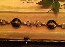 Load image into Gallery viewer, Reverse Crystal Bracelet, vintage Black w Horse Head, gold tone