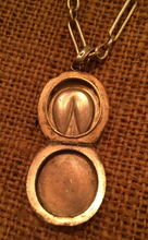 Load image into Gallery viewer, Necklace, AH designed 1893 Sterling Locket on Vintage Watch Chain