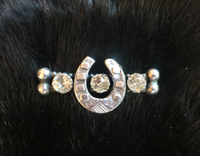 "Load image into Gallery viewer, Stock Pin-Brooch, Mid 1800's Sterling horse shoe pin w ""paste"" diamonds, perfect for Dressage"