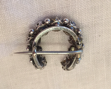 "Load image into Gallery viewer, Brooch, Civil War era ""paste"" diamond & Sterling horse shoe, Dressage Ring"