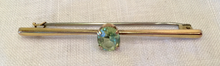 Load image into Gallery viewer, Stock pin-Bar Brooch, Vintage Oval Cut Peridot on 9kt gold pin