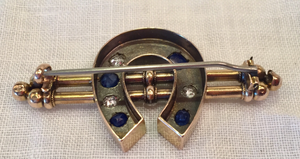 Stock pin, 19th c, 15k gold, diamond & brilliant sapphire