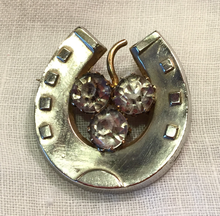 "Load image into Gallery viewer, Brooch, 19th c horse shoe w ""paste"" glass ""diamond"" clover, silver plated, Dressage"