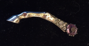 "Brooch, Antique-Vintage horse leg pin w ""paste"" ameythyst & diamond stones, Dressage, Art Deco influence, gold wash over sterling"