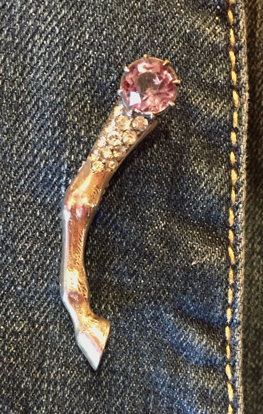 Brooch, Antique-Vintage horse leg pin w