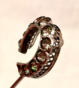 "Stickpin: Vintage ""paste"" glass diamond horse shoe"