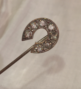"Stickpin: Tiny vintage ""paste"" diamond"