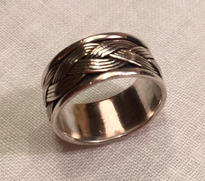 Ring, Braided wire style Sterling band ring