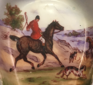 Desk Catch-All, Fine China, Vintage Foxhunting Pin Dish or Ashtray