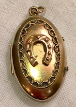 Load image into Gallery viewer, Locket, Antique Gold plated locket w 9kt gold horse shoe on front