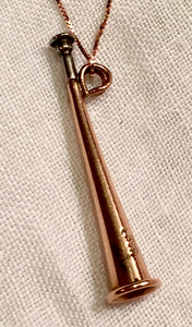 Necklace-pendant, AH designed, Antique hunting horn brooch-to-pendant of 9kt rose & white gold on new, rose gold chain