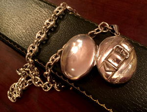 Necklace, AH designed, features an Antique Sterling Buckle Strap Locket on vintage Anchor Watch Chain