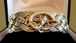 Bracelet, AH designed: Woven Sterling Cuff mounted w Vintage Victorian Style Brooch