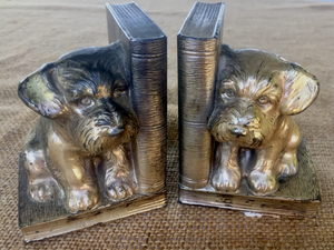 Bookends: Vintage 1900-1950's terrier puppies & books