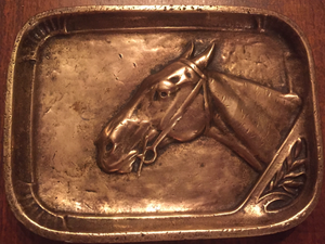 Desk Catch-All or Pin Dish, Fabulous Old Bronze Horse Head