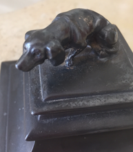 Load image into Gallery viewer, Desk Inkwell w Bassett Hound lid (circa 1880-1930)