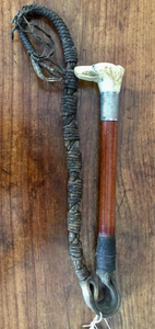 Beagling Whip w carved hound head & whistle (circa 1880-1920)