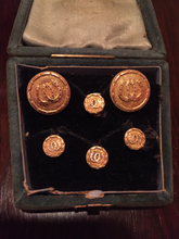 Load image into Gallery viewer, Cufflinks & Stud Set, 9 kt gold, double horse shoes