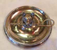 Load image into Gallery viewer, Desk Catch-All or Pin Dish, Antique Trophy w Fox & Hunt Whip