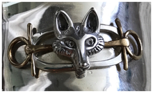 Load image into Gallery viewer, Bracelet, AH designed Sterling Cuff, Mounted w Modern Sterling Brooch w Brass Accents