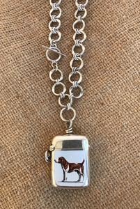 Necklace, AH designed Sterling Hound Vesta Case on Toggle Chain