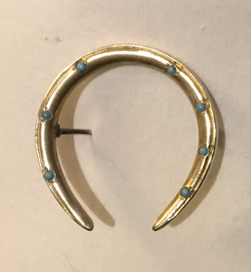 Brooch, horse shoe, w turquoise, antique, goldfilled