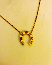 Load image into Gallery viewer, Necklace, 14 kt gold, antique diamond & ruby horse shoe