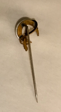 Load image into Gallery viewer, Stickpin, 9 kt gold, mother of pearl shoe, whip & horse leg