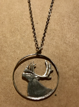 Load image into Gallery viewer, Necklace, silver elk cut out pendant, Canadian 25 cent piece on chain