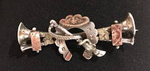 Load image into Gallery viewer, Brooch, 1889 sterling & 9 kt gold hunting horns, shoe & whip, Dressage