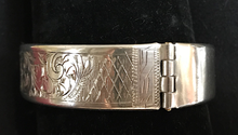Load image into Gallery viewer, Bracelet, unmarked 800? silver, hand engraved & signed by maker, April 3, 1882