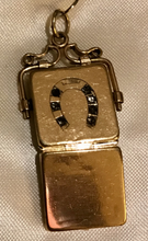 Load image into Gallery viewer, Locket, 9 kt gold horse shoe & clear stones