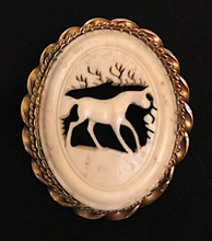 Load image into Gallery viewer, Brooch, carved antler, late 19th c-early 20thc