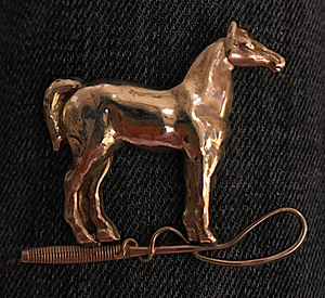 Brooch, sterling horse & hunt whip, 1940-1960, American
