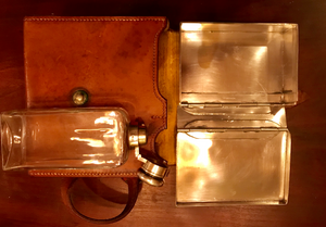 Sandwich Case, Ladies', English made with James Dixon & Sons, silverplated, hinged-top flask, very good vintage condition