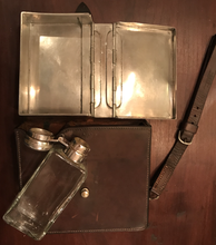 Load image into Gallery viewer, Sandwich Case, Ladies', English made, glass flask w silverplated nickel, hinged top