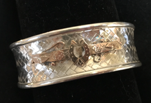 Load image into Gallery viewer, Bracelet, AH designed, late 1800's 9 kt rose gold brooch mounted on vintage woven sterling cuff